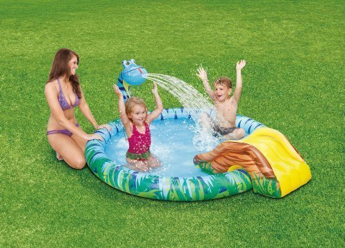 Snake Sprinkler & Slide Childrens Play Center Inflatable Swimming Pool 77 x 65 x 26 by Clearwater (Pool Snake)