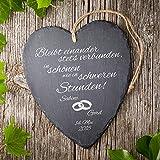Casa Vivente Schieferherz mit Gravur zur Hochzeit Eheringe