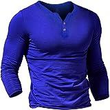 Musclealive Herren Beiläufig Kurzarm T-Shirt Single Taste Knopfleiste Einfacher V-Ausschnitt Hemden Baumwolle