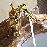 Retro Deluxe Fauceting Gold Swan Becken Tippen Ti-Pvd-Messing Keramik Hahn Platte Schieber Halter Deck montiert einzigen Griff Keramik Waschbecken Wasserhahn aus Messing, Messing, Gold