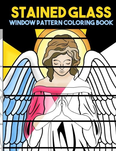 Stained Glass Window Pattern Coloring Book: Antique Large Print Coloring Book with Mosaic Stain Glass Designs