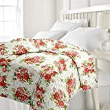 eCraftIndia Red Floral Single Bed Revers...