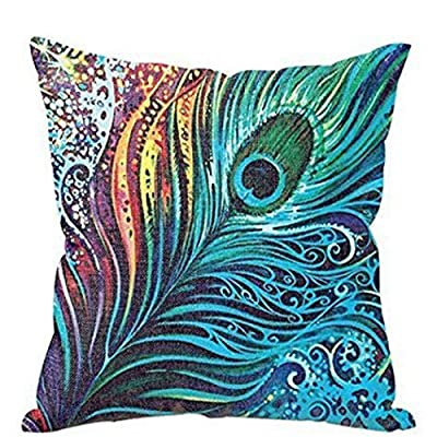 (On sale Promotions)Peacock Tail Pillow Cover?Baonoopy Peacock Sofa Bed Home Decor Pillow Case Cushion Cover - inexpensive UK light store.
