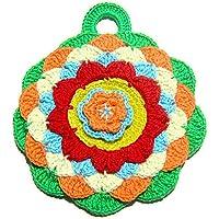 Presina rotonda colorata all'uncinetto - Dimensioni: 14.5 cm x 16.5 cm H - Handmade - ITALY