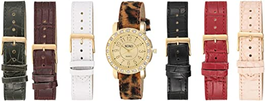XOXO Women's Sunray Dial Interchangeable Leather Band Watch Set - UTIGS006