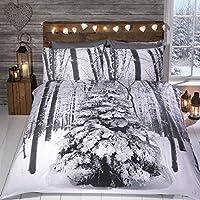 Mágico Maravilla Invernal árbol funda nórdica con Con purpurina - Navidad Juego De Cama Blanco Gris Plateado Negro Padre - Blanco Gris Plateado Negro, doble
