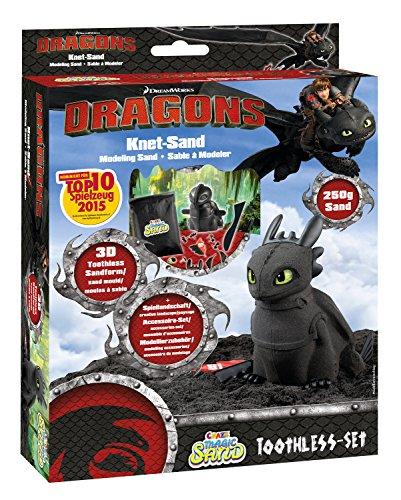 Craze 54728 - Sabbia magica Dreamworks Dragons, set di accessori inclusi, 200 g, colore: Nero