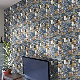Etiqueta de pared de PVC extraíble, Moderno y hermoso ladrillo de piedra...