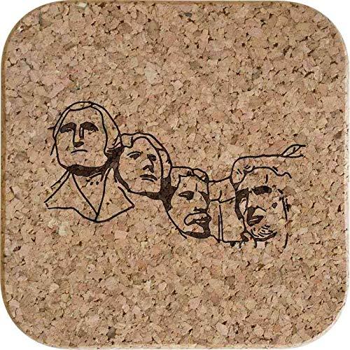 Azeeda 4 x 'Mount Rushmore' 10cm Quadratische Korkuntersetzer (CR00156301)
