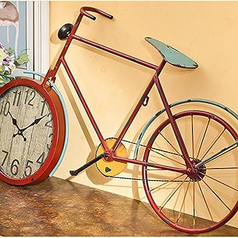 qwer Los países americanos para manejar la bicicleta grande de hierro antiguo reloj de pared decoración mural creativo mute ,12 relojes en ,12 pulgadas rojo grande