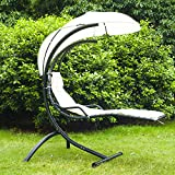 Outsunny Outdoor Garden Patio Swing Hammock Helicopter Sun Lounger Chair Seat Relaxer with Cushion Canopy - Black