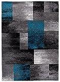 Designer Teppich für Ihre Wohnzimmer Esszimmer - Grau Schwarz Blau - Teppich In Moderner Ausgabe - Dichter Und Dicker Flor - Ungewöhnlicher Design - Abstractes Geometrisches Muster Viereck Rechteck - Pflegeleicht - ' Tokio ' Kollektion von Carpeto 80 x 150 cm Klein