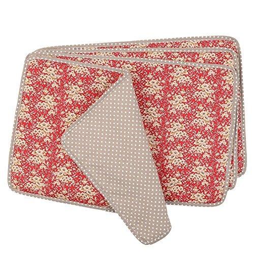 Neoviva Set de Table avec Ensemble de Tissu matelassé pour Salle à Manger, Lot de 4, 100 % coton/100 % Polyester/Coton/Polyester, Floral Mandarin Red Blossom (Polka Dots Brown), 40 x 30 cm