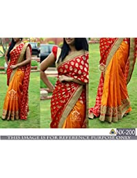 Pramukh Enterprise New Chanderi Silk Red & Musturd Designer Saree