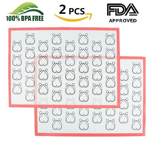Silikon Macaron Backmatte Matte Backform - Wiederverwendbar, Flexibel, Antihaftbeschichtet, Leicht zu Reinigen Backblech Rutschsicher | Gesundes Kochen Matte, BPA-frei und FDA und LFGB, 42 x 29,5 cm (Macaron-2 Pcs)