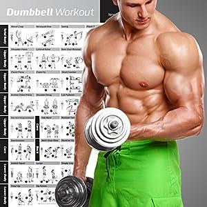 Dumbbell Poster mit Workout-Übungen – JETZT LAMINIERT – Krafttraining-Chart – Muskelaufbau & Muskelspannung – Gewichthebe-Routine im Heim-Gym – Body Building Guide