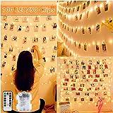LED Foto Clip Lichterketten für Zimmer, Nasharia 100 LED 10M Fotoclips Lichterkette Batterie Bilderrahmen dekor für innen, Haus, Weihnachten, Hochzeit, Schlafzimmer (Mit 50 Holzklammern)
