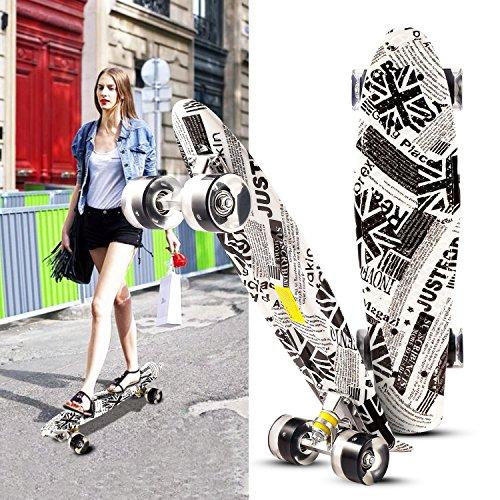 Hikole Skateboard für Kinder ab 6 Jahre - Mini Cruiser Board mit LED Leuchtrollen- Komplett Penny Board für Erwachsene Kinder Jungen Mädchen