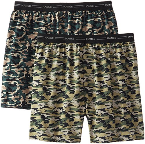 Hanes Men's 2-Pack Exposed Waistband Woven Camo Boxers, Camo Print, X-Large (Boxer Hanes Woven)