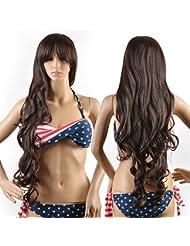 Perruque brune femme, Perruque Cheveux Nouveau Féminin Bruns Bouclés Ondulés Glamour, avec Perruque Cap et Perruque Élastique de Peigne