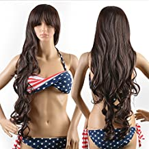 AGPtek® Parrucche Lunga alta qualità nuova donna pieno parrucca marrone capelli ricci ondulati Glamour + parrucca Cap + parrucca pettine + gomma Band
