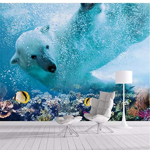 Pbldb Unterwasserwelt Marine Tapete Für Schlafzimmer Individuelle Tapete Eisbär Unterwasserwelt Tv Wandtapeten Wandbilder Behang-400X280Cm -