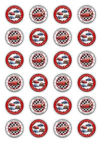 Tortendekoration aus Esspapier mit Motiven aus Cars von Disney, für Cupcakes, Kuchen, Geburtstag, Feiern, 24 Stück (Cars Disney Kuchen)