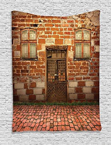 Elfenbein-schlafzimmer-möbel (jjonepin Rustikal Decor Kollektion, Cottage Tür von überwachsenen Büschen Gras Baum Garten Brick Fairytale Landschaft Bild, Schlafzimmer Wohnzimmer Wohnheim Wandbehang Wandteppich, grün elfenbein gelb, Textil, multi, 40
