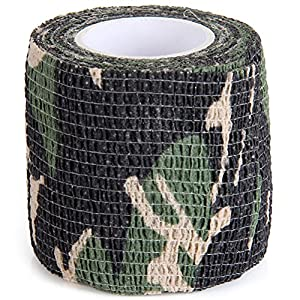 Vorcool Uning Autocollant de protection Camouflage ruban Wrap 5 cm X 4.5 m tactique Camo Form multifonction Tissu non tissé Stealth Bande élastique Bandage pour extérieur de chasse (couleur aléatoire)