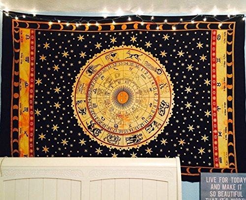 """Zodiac Indian Cotton Tapestry Wall Hanging Decor Bohemian Twin Tapestries 84""""..."""