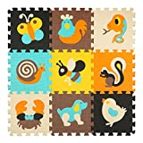 qqpp Tapis de Puzzles - Tapis de Sol épais pour l'éveil de bébé - Puzzle géant aux Motifs Animaux- dès 10 Mois - Lot de 9 Dalles en Mousse Multicolores et Multiple éléments pour Tapis de Jeu.