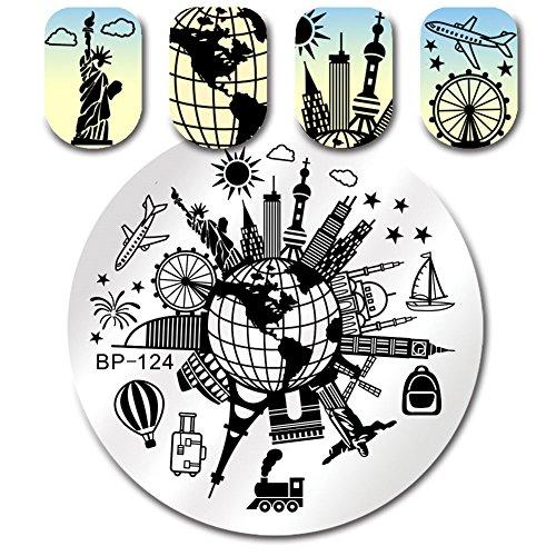 Born Pretty Runde Platte stempelt Globe Scenic Spot Reise 5.5cm Nagel Kunst Bild Platte BP-124