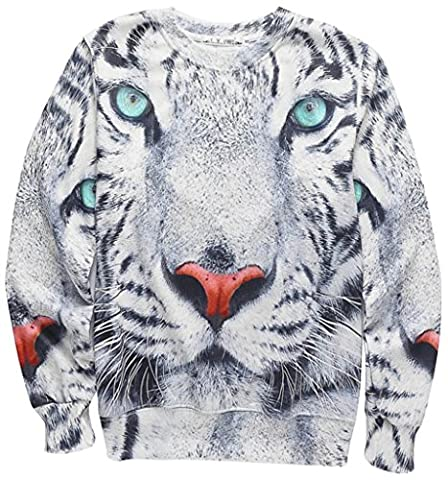 Pizoff Unisex Hipster Long Sleeve Crew Neck Tiger Face 3D Digital Graphic Sweatshirt with Fleece Lining