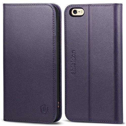 SHIELDON iPhone 6s Hülle iPhone 6 Hülle, iPhone 6s / 6 Echt Leder Hülle, Ledertasche mit [TPU Innenschale] [Kartenfach] [Standfunktion] [Magnet] für iPhone 6s / 6 4.7 Zoll,Lila