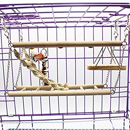 Gaddrt Animal Activity Toy Parrot Climbing Net Parrot Ladder Swing Budgie Hanging Toy Suspension Bridge Hammock Swing Ladder 4
