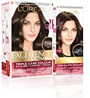 L'Oreal Paris Excellence Creme Hair Color, 3 Natural Darkest Brown, 222g (172ml+50ml) - Combo pack of 2