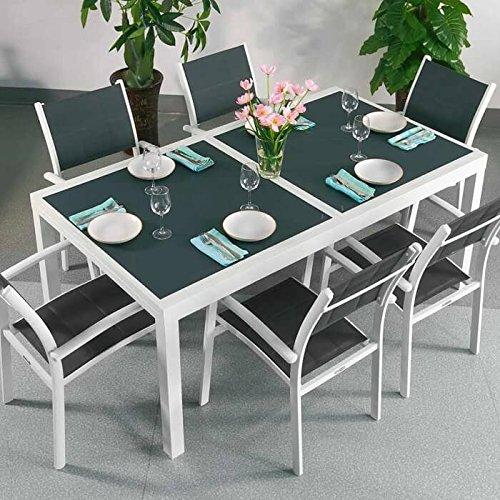 Table aluminium et verre Florence et 6 Chaises Milly - BLANC & GRIS | Table à manger extensible en métal de 240cm