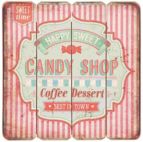 Deko Dekoration Textschild Schild Happy Sweet Candy Shop ca. 40 x 40 cm ()