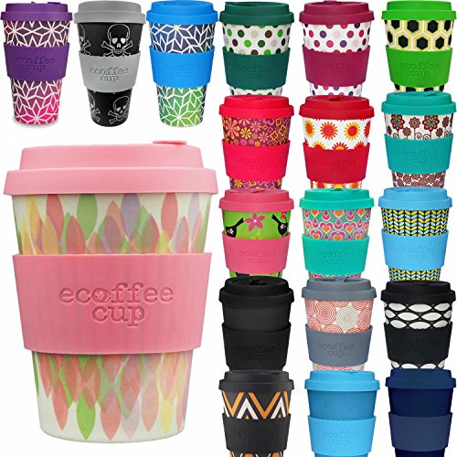 LS Design Öko Ecoffee Cup 355ml Coffee to Go Becher Silikonring Travel Mug Rosa Raute
