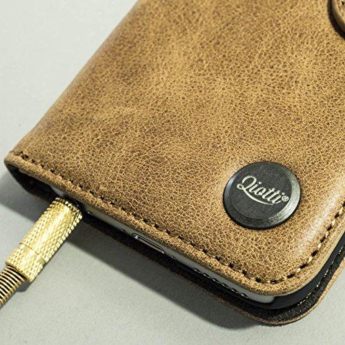 QIOTTI >              Apple iPhone 6 und 6S (4,7 Zoll)              < incl. PANZERGLAS H9 HD+ Geschenbox Booklet Wallet Case Hülle Premium Tasche aus echtem Kalbsleder / Denim mit Kartenfächer. Edel verpackt incl. Stoffbeutel. BROWN ARROW