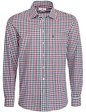 Almsach Trachtenhemd Barthl Regular Fit Mehrfarbig in Rot und Dunkelgrün Inklusive Volksfestfinder