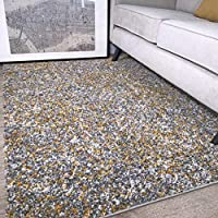 Murano Mottled Speckled Mixed Tonal Design Ochre Yellow Mustard Gold and Cream Grey Rug
