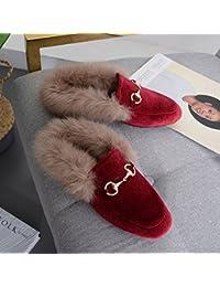 Medias Medias de Moda de Moda Zapatos de Lana con Tacones Bajos con Zapatos , rojo , EUR35