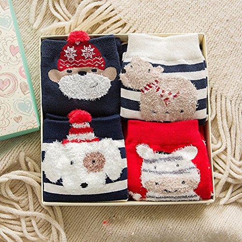 Weihnachten Socken Herbst und Winter Weihnachten Socken Baumwolle Rohr Socken Weihnachten Boxed Socken,D - Socken Rohr Mädchen