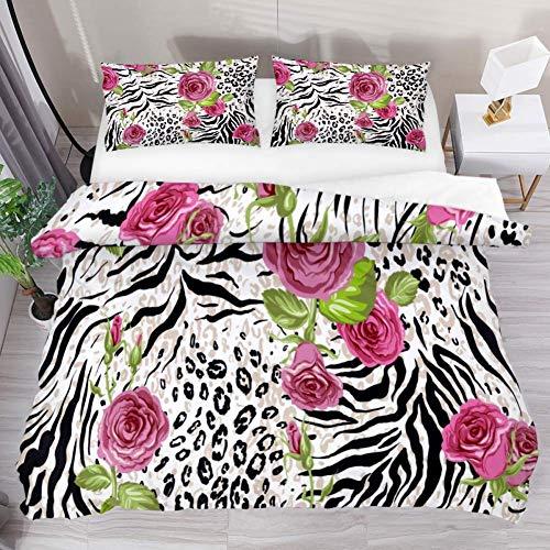 Soefipok Bettwäsche-Bettbezug-Set Rose Leopard Print Bedrucktes Tröster-Set mit 2 Kissenbezügen 3-teilig, 1 Bettbezug mit 2 Kissenbezügen -