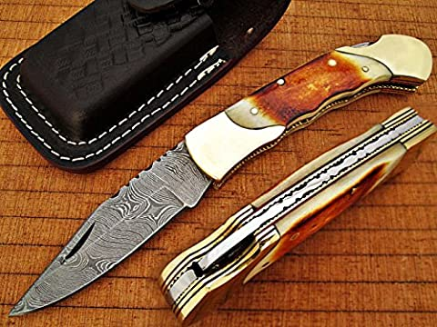 HANDMADE DAMASCUS STEEL 18.5CM AWESOME FOLDING POCKET KNIFE WITH GIRAFFE BONE HANDLE BLADE UNDER 3