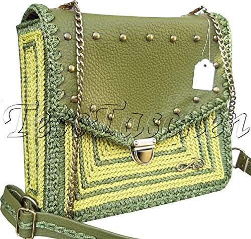 Olivgrüne Umhängetasche.Schultertasche in der Khakifarbe.Leder Handtasche.Grüne Hobo Tasche mit Metall-Nieten.Medium Cross-body Bag .Gechäkkelte Satchel.Tasche mit gesticktem ornament -