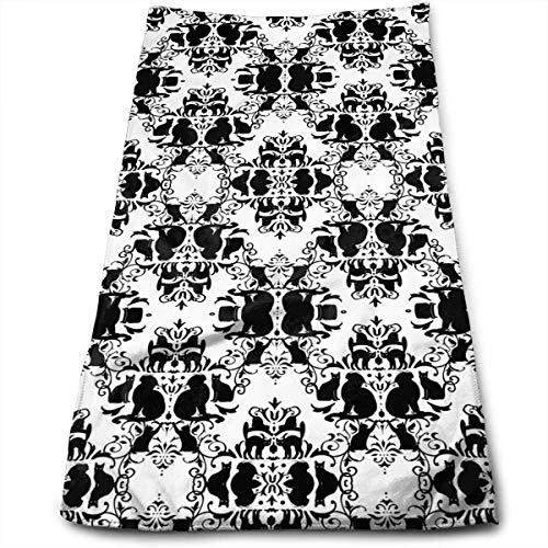 2019 New Cat Damask Soft Polyester Large Hand Towel- Multipurpose Bathroom Towels for Hand, Face, Gym and Spa (X 16 18 Ofen-rack)