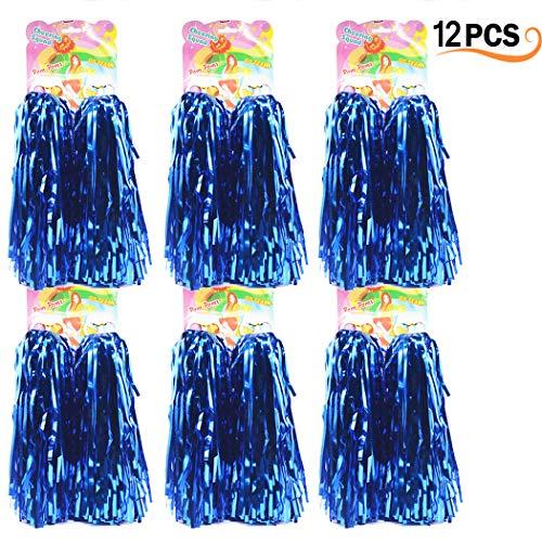 12er Pack Cheerleading Pom Poms - Ultra Shining Pom Pom Cheerleader Puschel Tanzpuschel Party Sport Fußball Zubehör (Blau)