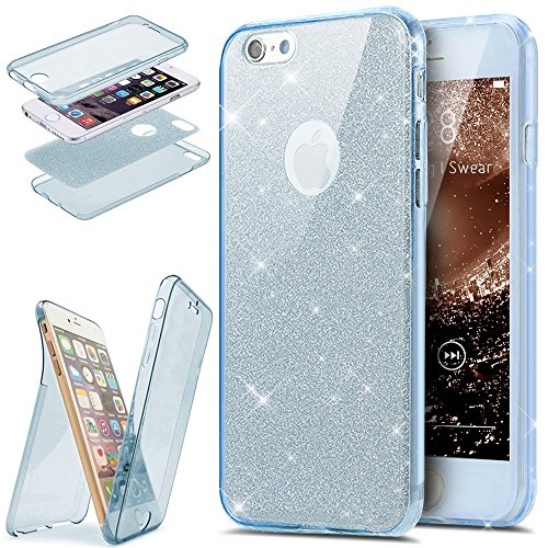 EUWLY [360 Gradi Full Body Protettiva Custodia Sparkling Glitter Custodia Cover] Silicone Custodia per iPhone 7/iPhone 8,Cover TPU Custodia Case Bling Trasparente Morbido Plastica Protezione Completa  Blu